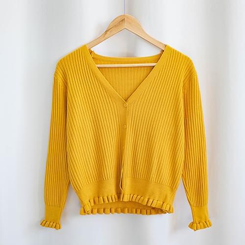 Lubia Ruffle V Neck Knit Cardigan