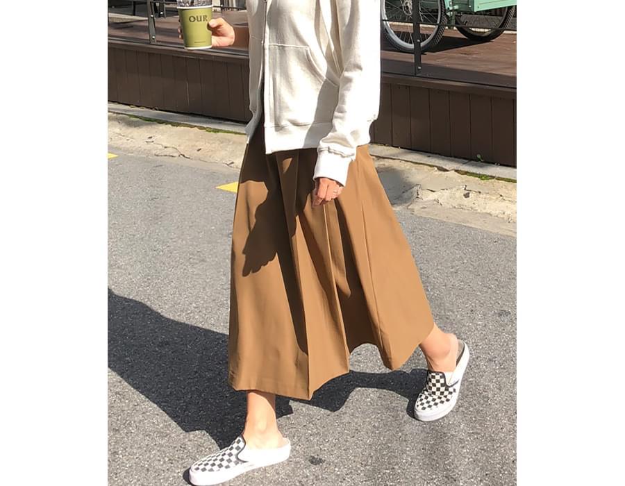 Pleats cotton long skirt_H (size : S,M)