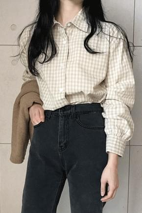 Shape Rouge Check Shirt ★ Beige shipped same day, order runaway!