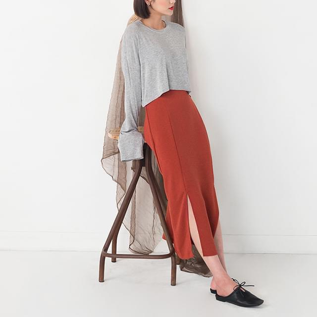 basic slit detail long skirt