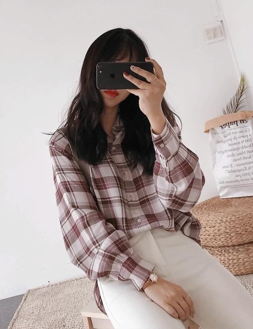 Mash check rouge blouse