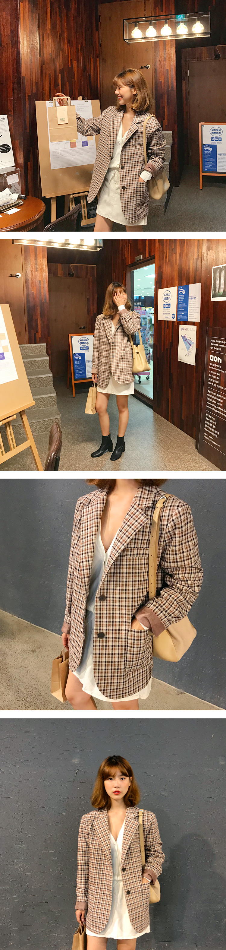 Record over check jacket_M (size : free)[예약주문 : 브라운 9/14 입고]
