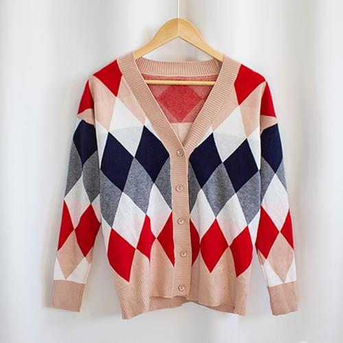 Parfait Argyle V Neck Knit Cardigan