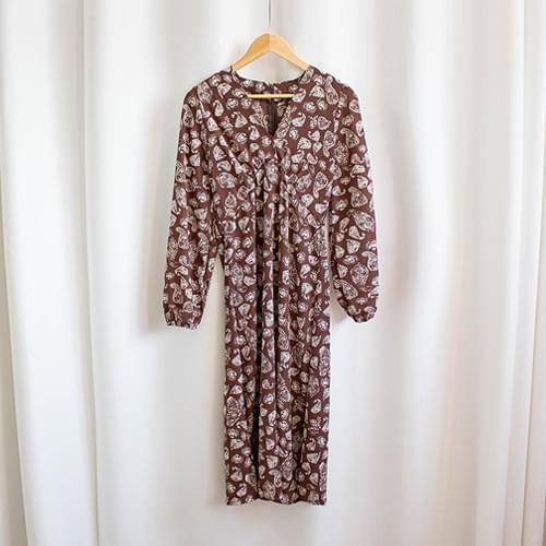 Emil Unique Pattern V-Neck Long Dress
