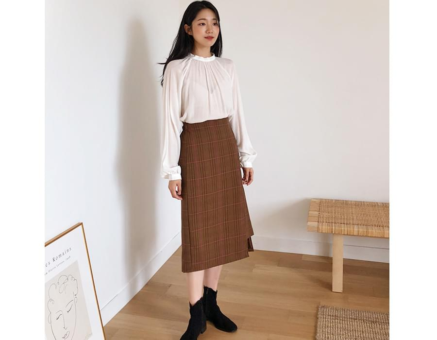 Window check midi skirt_K (size : free)