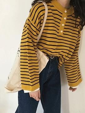 Button Envelope Stripe Knit