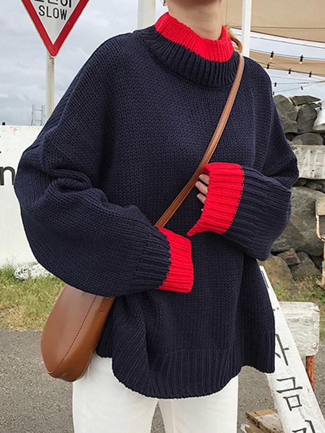 High neck sleeve color knit
