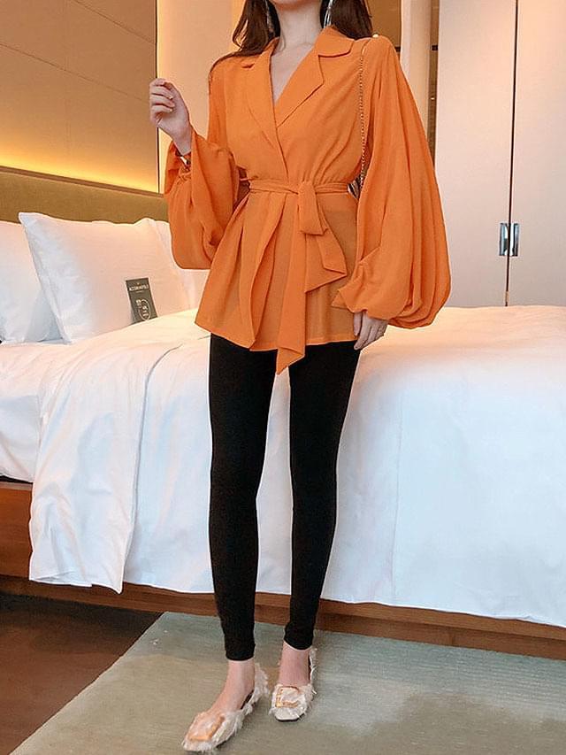 Orange sleeve balloon waist ribbon jacket