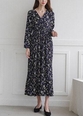 Flower Wrap Pleated Dress