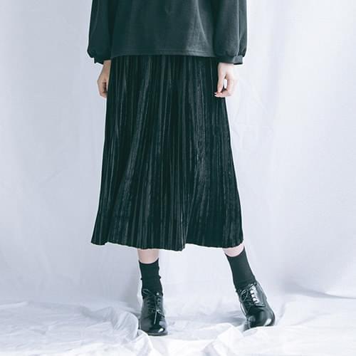 Secret tax long pleated skirt