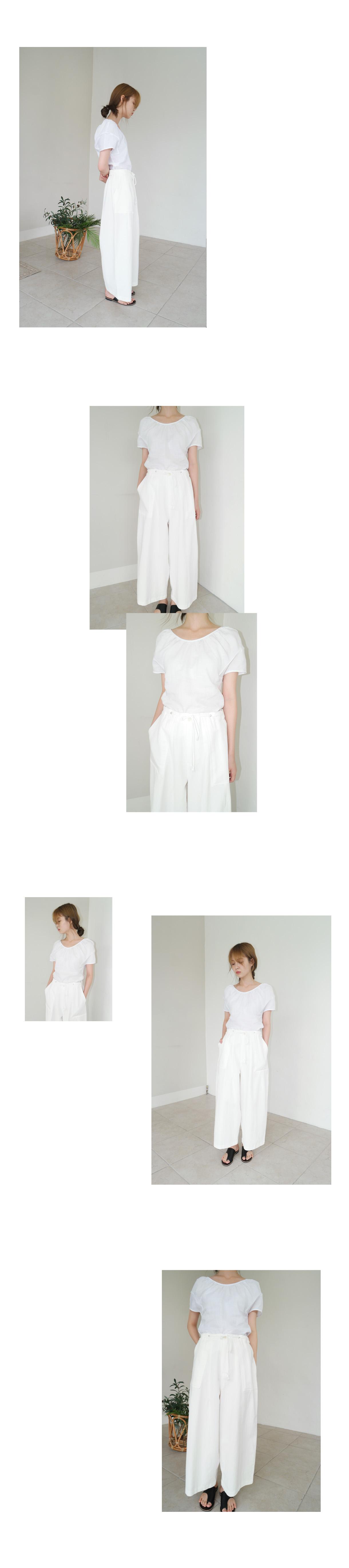 waist string wide cotton pants (2colors)