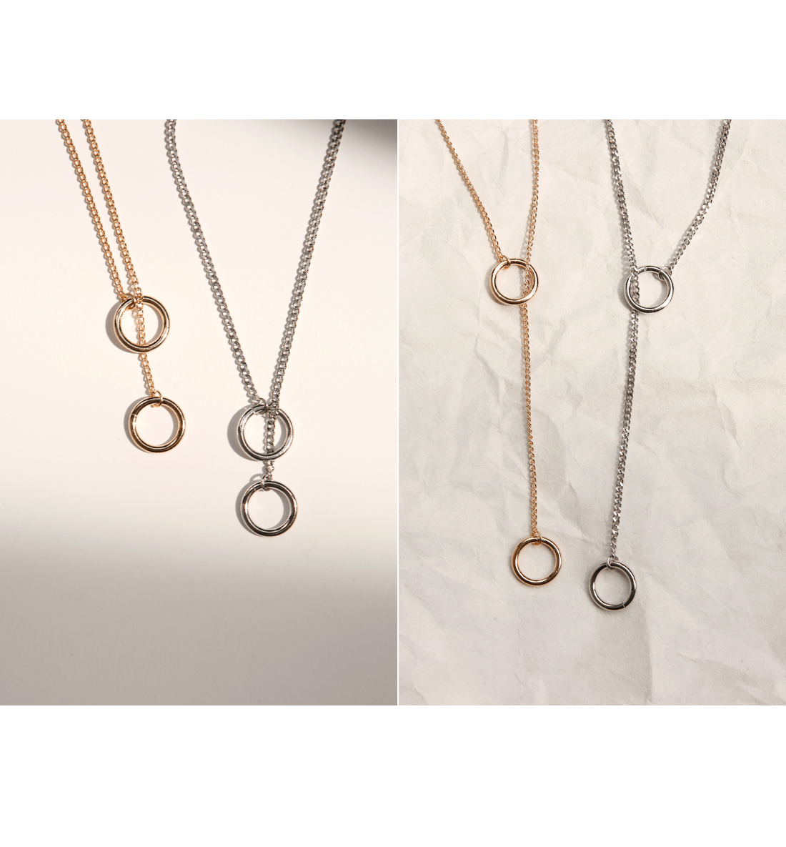 CHAIN DOUBLE RING NECKLACE