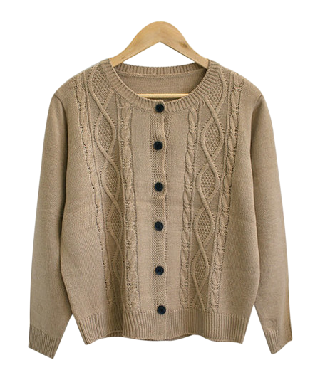 Fish round knit cardigan