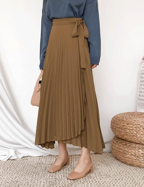 Sun accordion lapel skirt