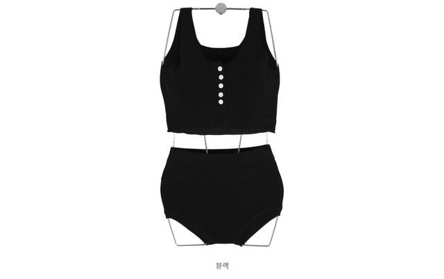 5 button knit beach bikini SET