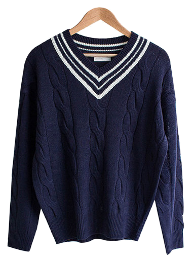 School Twist Coloring V Neck Knit
