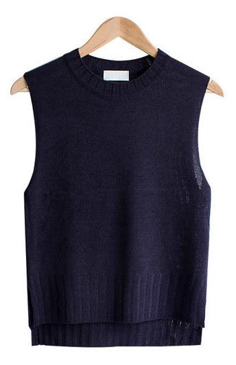 Mono Lime Unbalance Round Knit Vest