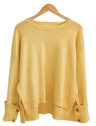 Button sleeve round knit