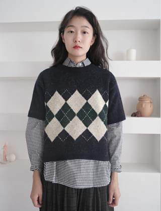 argyle half sleeve knit (2colors)
