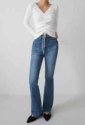 High boots-cut denim pants