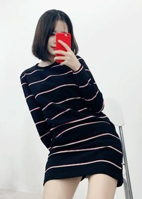 Striped Round Long Sleeve Dress