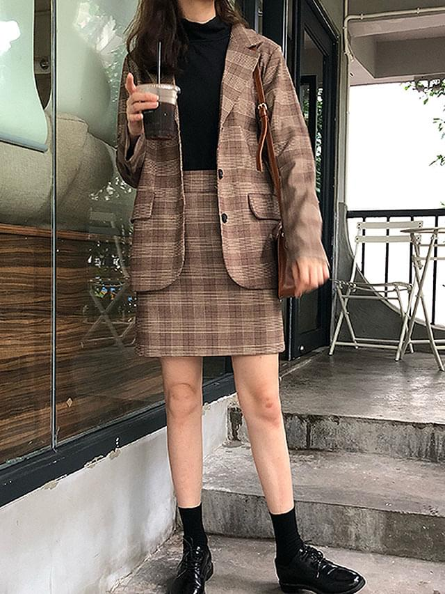 Glen check jacket skirt set