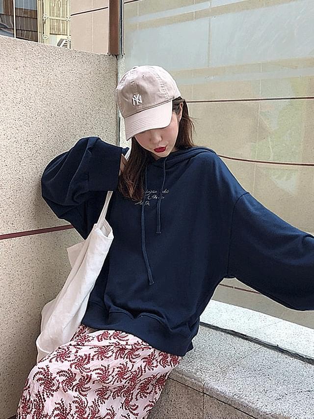 Navy Handkerchief Sleeve Hooded T-shirt