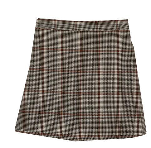 Single click check mini skirt