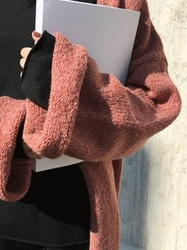 Long jood knit cardigan