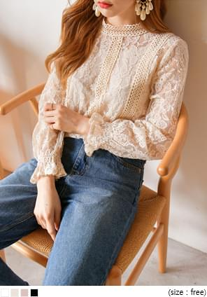 NOBLY FLOWER NEEDLE LACE BLOUSE