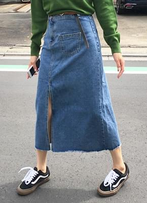 Unbalanced top denim skirt