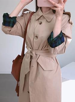 Checkered trench coat
