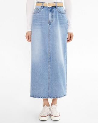 capture belt set denim skirt (s, m)