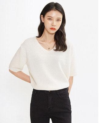 cashmere v-neck half knit