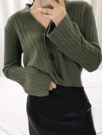 Button Basic Corrugated Short Cardigan