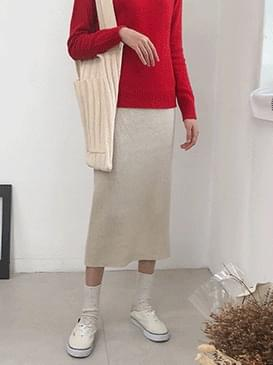 80% wool oatmeal knit skirt