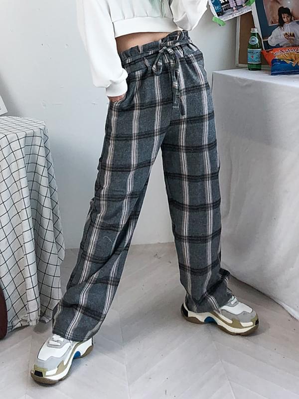 Classic check robe pants