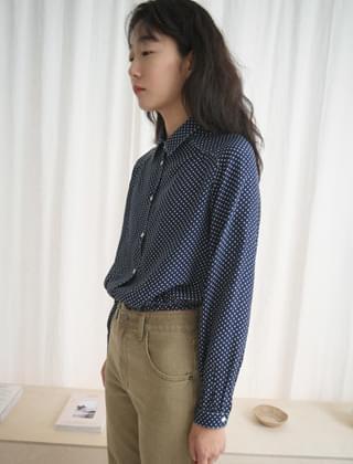 vintage mood pattern blouse (3colors)