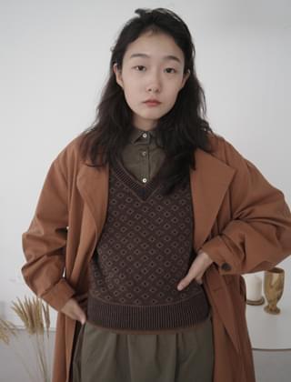 jacquard knit vest (2colors)