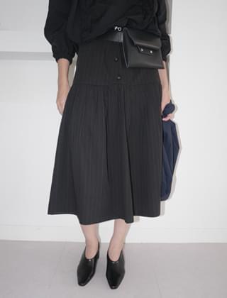 button detail long skirt (2colors)