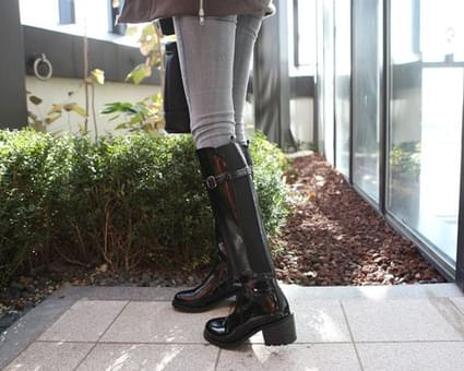 Melio buckle strap long boots