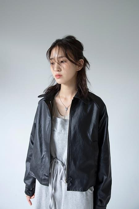 retro leather jacket (2colors)