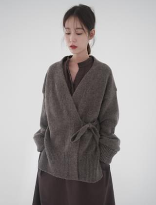 wool strap robe cardigan (3colors)