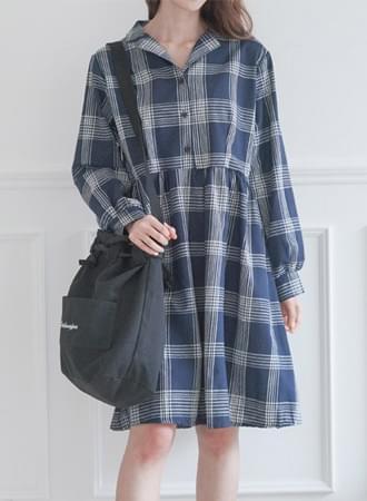 Uma check cotton dress