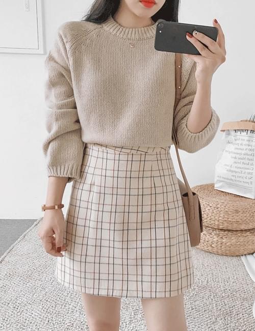 Cube check skirt