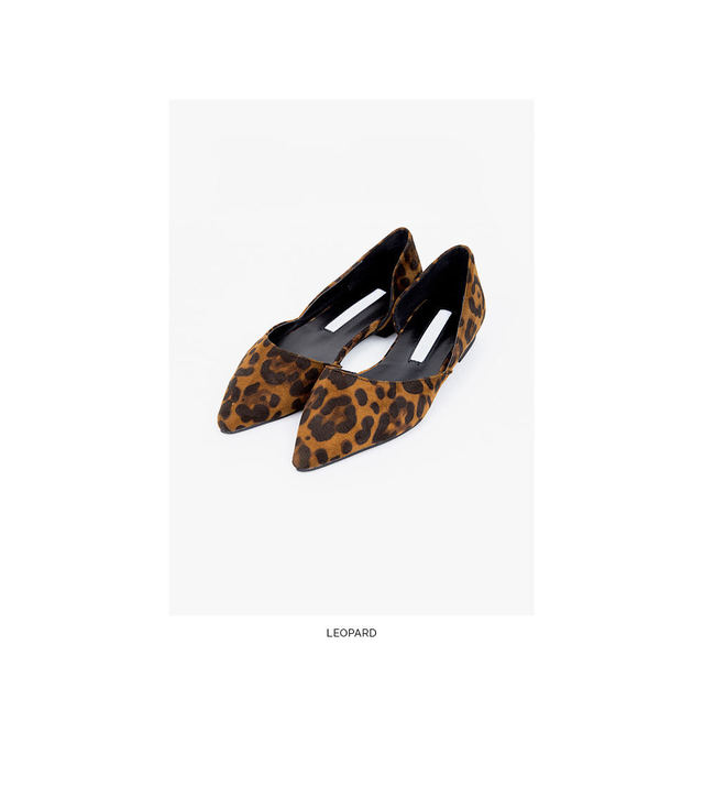 pointed leopard flat shoes (225-250)