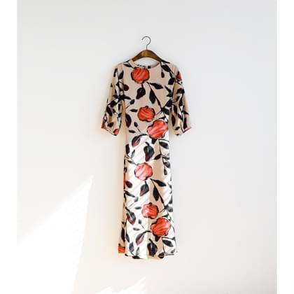 Rose watercolor print dress