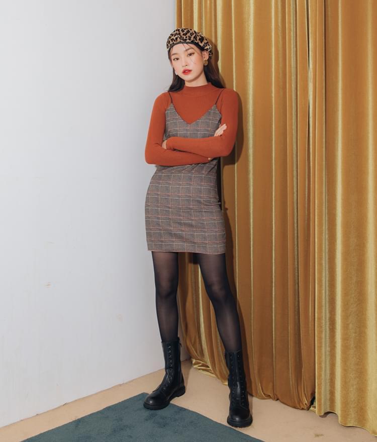 Check bustier sleeveless dress