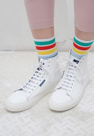 TRIPLE-MAJOR Whale High-top Leather Sneakers in (WHITE)