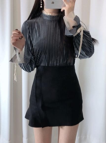 Velvet striped blouse